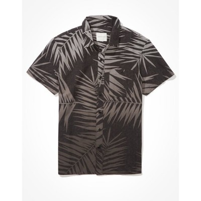 アメリカンイーグル シャツ メンズ American Eagle AE Floral Short-Sleeve Button-Up Shirt Gray