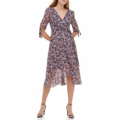 トミー ヒルフィガー レディース ワンピース トップス Women's Gansett Floral Chiffon Midi Dress Blue