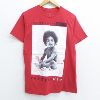 M/古着 半袖 ヒップホップ ラップ Tシャツ ノートリアスBIG コットン クルーネック 赤 レッド 20jul31 中古 メンズ