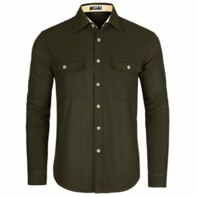 TATT 21 TATT 21 メンズ ボタンダウンシャツ 長袖 綿 カジュアル ビジネス 胸ポケット 無地 グリーン S