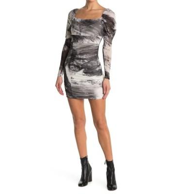 ラブニッキールー レディース ワンピース トップス Tie Dye Long Sleeve Puffed Shoulder Mini Dress IVORY / BLACK