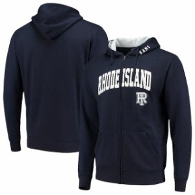 Colosseum コロセウム スポーツ用品  Colosseum Rhode Island Rams Navy Arch & Logo Tackle Twill Full-Zip Hoodie