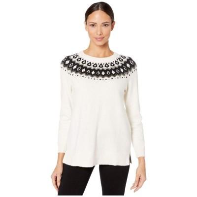 ヴィンス カムート Vince Camuto レディース ニット・セーター トップス Long Sleeve Embellished Yoke Jacquard Sweater Antique White