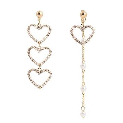 古典的な女性空洞の心臓非対称真珠ドロップタッセルイヤリングゴールド