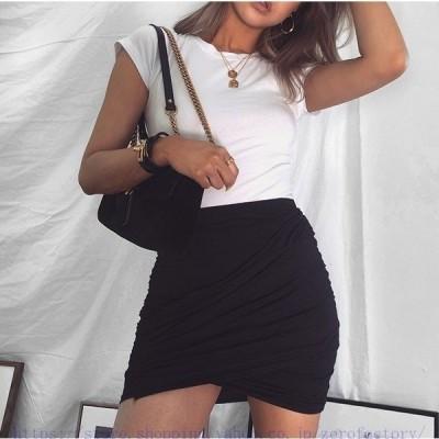 クロスギャザースカートタイトスカートレディースハイウエスト無地ミニスカートスリム着痩せセクシー通勤¥/通学3color