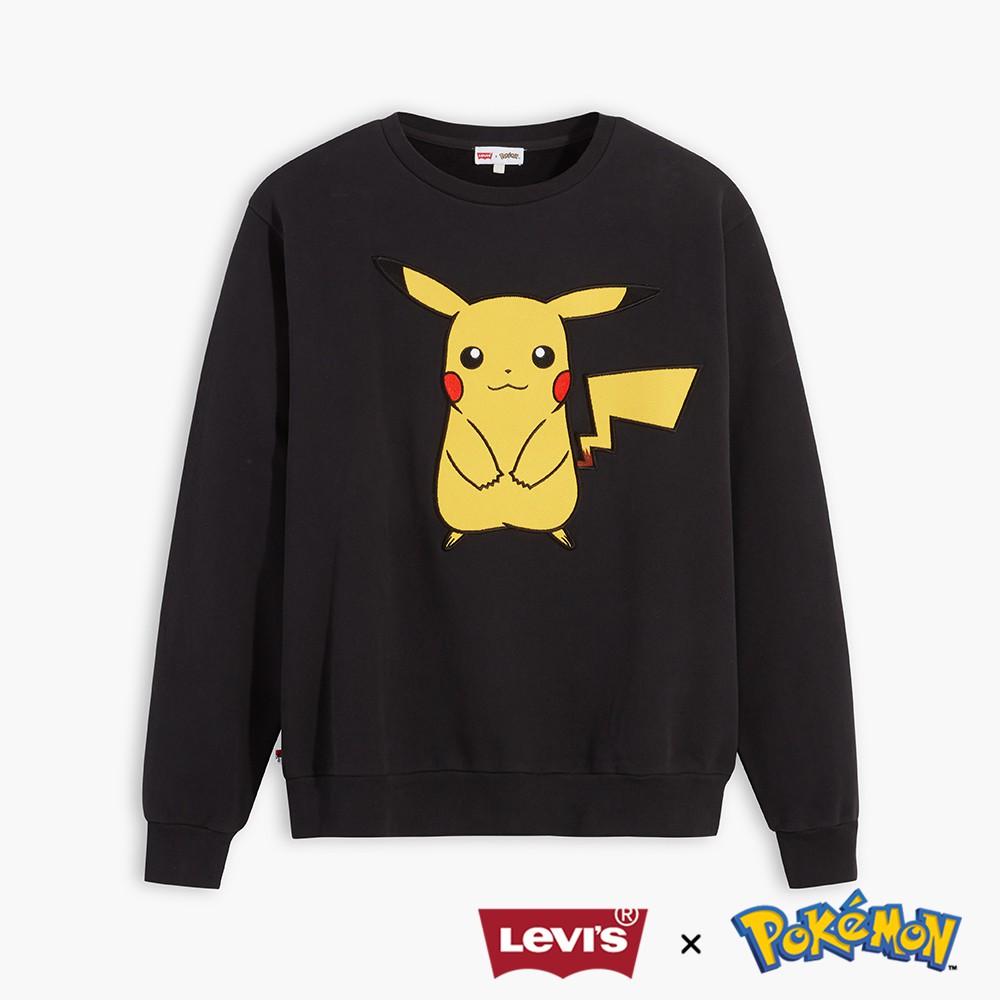 Levis X Pokemon 限量聯名 大學T/ 皮卡丘電繡布章/ 精靈球旗標 男女款-人氣新品 59213-0003
