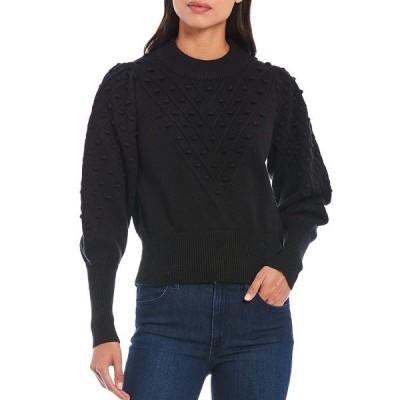 フレンチコネクション レディース ニット&セーター アウター Cropped Pom-Pom Detailing Puff Sleeve Sweater Black