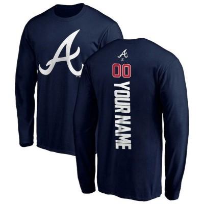 ファナティクス ブランデッド メンズ Tシャツ トップス Atlanta Braves Fanatics Branded Personalized Playmaker Name & Number Long Sleeve T-Shirt Navy