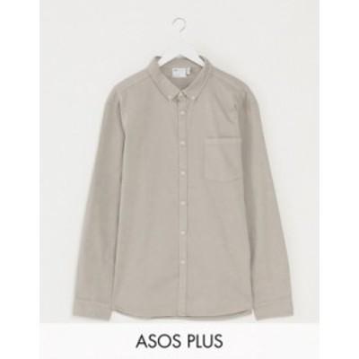 エイソス メンズ シャツ トップス ASOS DESIGN Plus stretch slim organic denim shirt in gray Grey