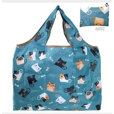 大容量 ショッピングバッグ ネコ ブルー