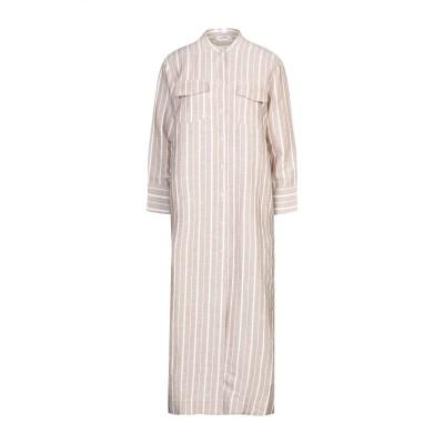 アルファスタジオ ALPHA STUDIO 7分丈ワンピース・ドレス ベージュ 42 リネン 100% 7分丈ワンピース・ドレス