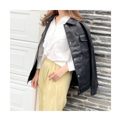 【シルキー】 エコレザーカバーオールジャケット レディース ブラック Mサイズ Silky