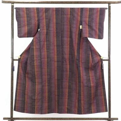 リサイクル着物 紬 正絹茶色地縦縞袷真綿紬着物