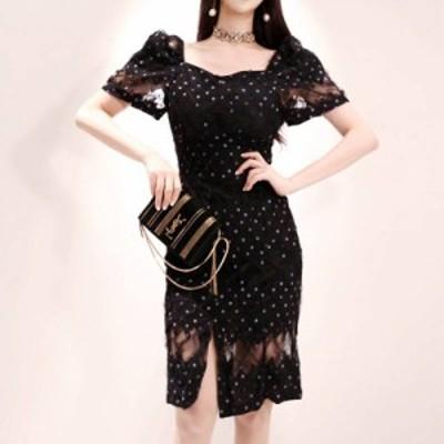韓国 パーティードレス オルチャン ドレス 結婚式 お呼ばれ ドレス フォーマル ドレス パーティー ドレス 20代 30代 40代 ドット柄