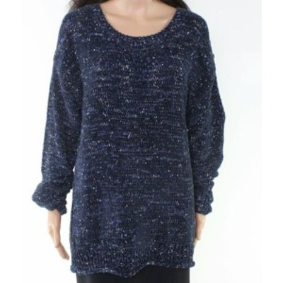 Marled  ファッション トップス Allie & Rob Womens Blue Size PXL Petite Marled Knit Pullover Sweater