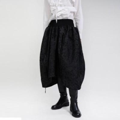モード系 春服 スカート ランタンスカート ジャガード織 ハイウエスト Dark 病み可愛い 総柄 ゴシックコーデ ストリート系 黒ゴス 原宿系