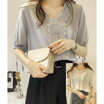 可愛い韓国風ファッション/レディース レースブラウス/半袖  Tシャツ/シフォン ブラウスシャツ