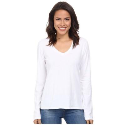 モドオードック レディース Tシャツ トップス Supreme Jersey Fitted L/S V-Neck White