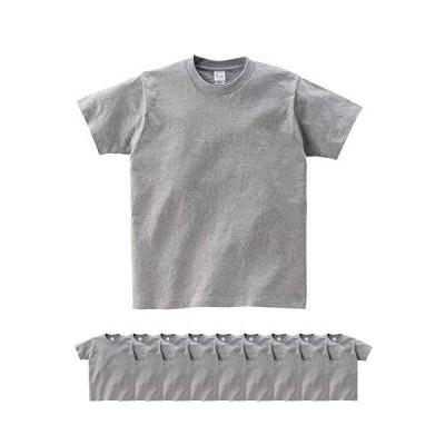 (プリントスター)Printstar | 00085-CVT 5.6オンス ヘビーウェイトTシャツ 10枚セット メンズ (杢グレー, L)
