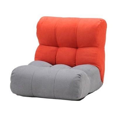 ソファー座椅子/フロアチェア 〔レッド/グレー〕 北欧風 ツートーンカラー リクライニング 『ピグレットJrノルディック1P』