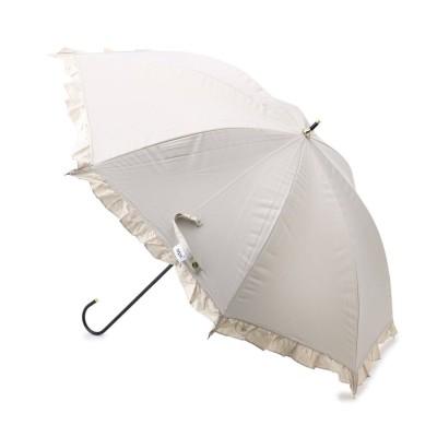 シューラルー SHOO-LA-RUE Wpc. 晴雨兼用遮光フリルトリム傘(長傘) (ベージュ)