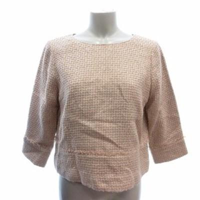 【中古】グリーンレーベルリラクシング ユナイテッドアローズ シャツ  ブラウス 七分袖 ツイード 36 ピンク