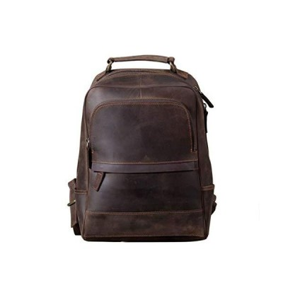 LONGHAIYUAN Vintage Crazy Horse Cowhide Men's Large Computer Backpack Leather Outdoor Daily Travel Backpack【並行輸入品】