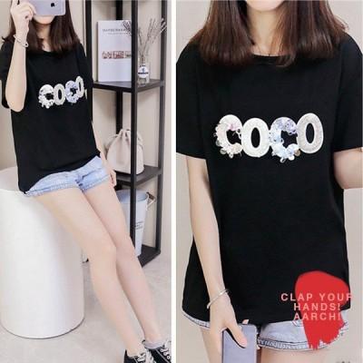 大きいサイズ おおきいサイズ レディース ファッション Tシャツ ワンピース COCO ロゴ 装飾 プリント Tシャツ トップス LL 3L 4L 春夏