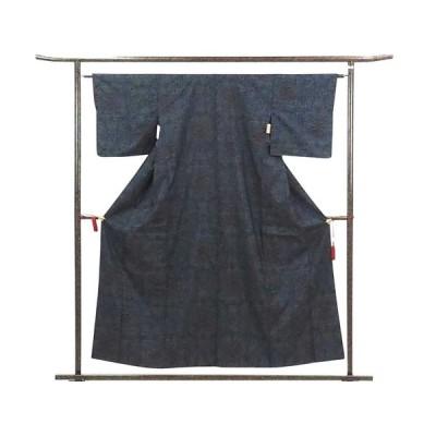 リサイクル着物 紬 正絹紺地袷大島紬着物