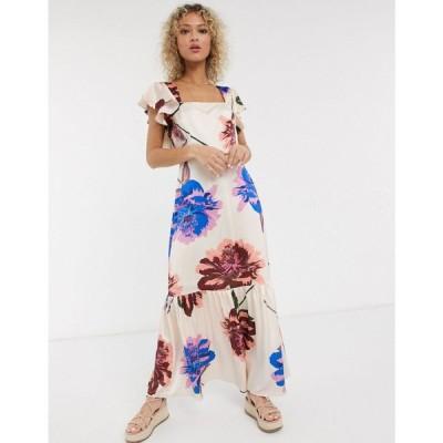 リカリッシュ Liquorish レディース ワンピース マキシ丈 ワンピース・ドレス square neck ruffle shoulder smock maxi dress in oversized bloom