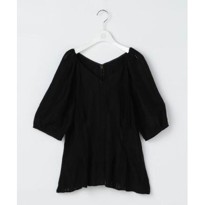 【ノーリーズ】 刺繍パフスリーブブラウス レディース ブラック 38 NOLLEY'S