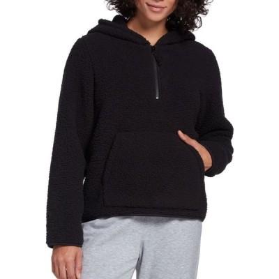 DSG レディース パーカー トップス Sherpa 1/4 Zip Pullover Hoodie Pure Black