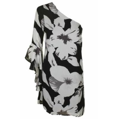 CeCe  ファッション ドレス Cece Schwarz Grau Glockenarmel Blumenmuster ein Schultertrager Schiftkleid 2