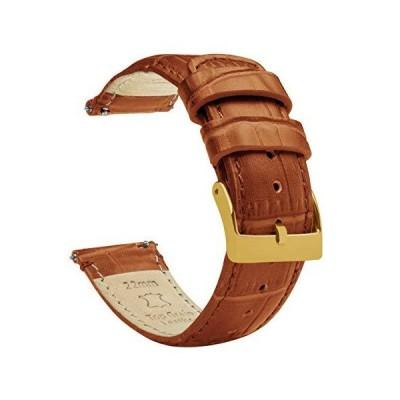 BARTON WATCH BANDS タフィーブラウン - 標準長 - アリゲーターグレイン - ゴールドのバックル クイックリリース レザー 腕時計