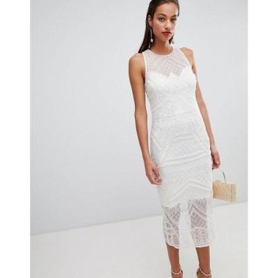 エイソス レディース ワンピース トップス ASOS DESIGN embellished pearl fringe midi dress Ivory