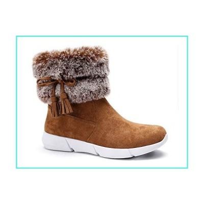 【新品】Greatonu Womens Black Warm Faux Fur Short Winter Snow Boots with Tassels Comfort Anti Slip Hybrid Sneaker Winter Ankle Booties S