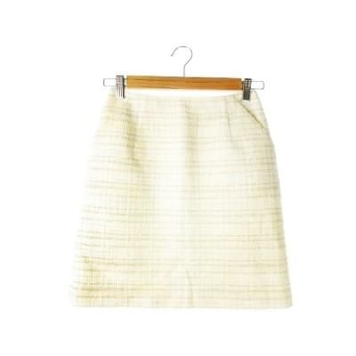 【中古】フレディ エミュ fredy emue スカート ツイード タイト ミニ オケージョン 36 白 アイボリー /CK13 ☆ レディース 【ベクトル 古着】