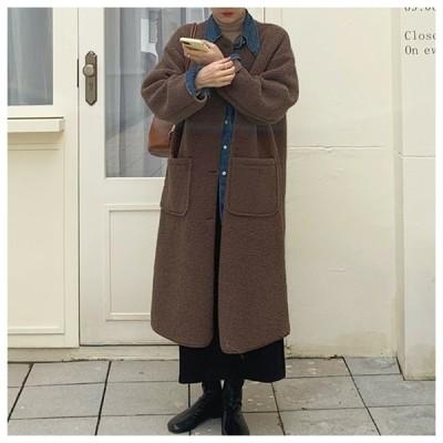 ボアデザインロングコート アウター ロングコート コート ボア シンプル ファー かわいい 韓国 ファッション オルチャン