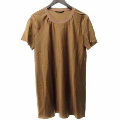 【中古】アニオナ AGNONA シルク カットソー Tシャツ 半袖 クルーネック 光沢 上品 茶 ブラウン 42 L位 レディース
