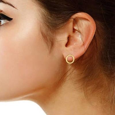 Ritastephens 14k Solid Yellow Gold Shiny Open Circle Stud Earrings