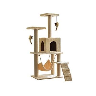 Sarada キャットタワー 猫用 運動不足解消 かわいい 爪とぎつき 小部屋 ハンモック タワー (ベージュ) 並行輸入品