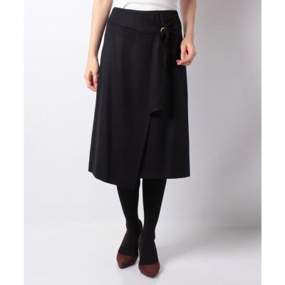レリアン 【特別提供品】ラップ風デザインスカート(ネイビー)【返品不可商品】