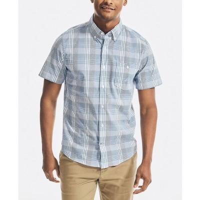 ナウティカ シャツ トップス メンズ Men's Slim-Fit NavTech Performance Stretch Plaid Shirt Noon Blue
