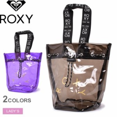 ロキシー バッグ レディース クリスタル ハンド ブラック 黒 パープル ROXY RBG211372 クリアバッグ 透けバッグ シースルー ビニール 巾