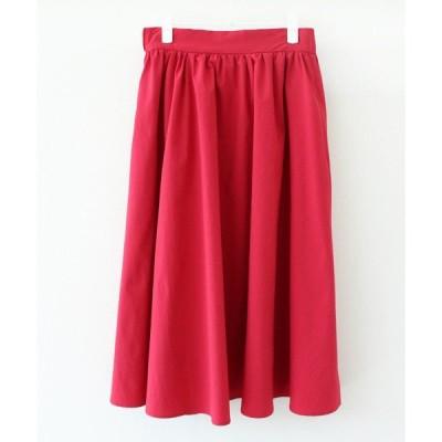 スカート 撥水スパンライクタイプライターギャザースカート