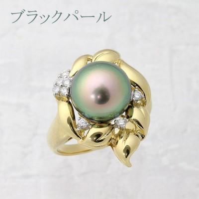 【返品可能】 ブラックパール・黒真珠 直径11.8mm リング・指輪 18号 K18ゴールド 中央宝石鑑別書 (267350)