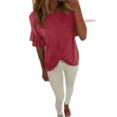 女性 夏 シャツ 無地 半袖 トップス フリル 袖ソフト 通気 性 ブラ ウス ファム グループ上 レディース 衣服 から ブラウス シャツ 中
