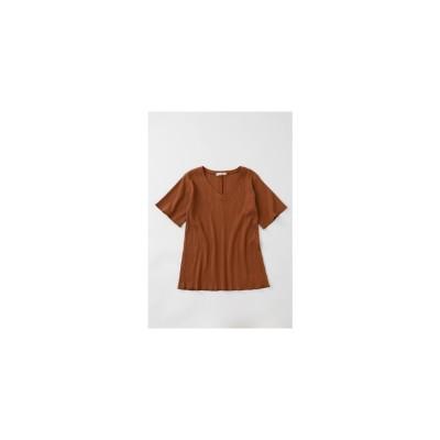 マウジー moussy VNECKFLARERIBTシャツ (ブラウン)