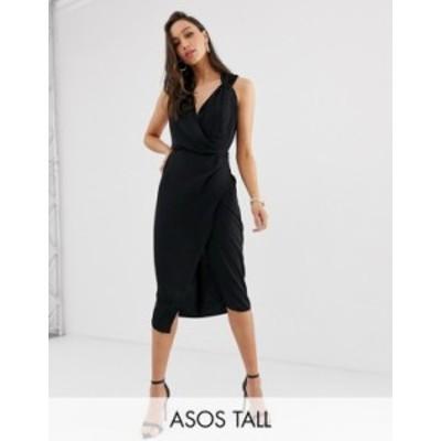 エイソス レディース ワンピース トップス ASOS DESIGN Tall wrap front midi dress Black