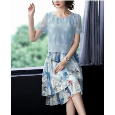 送料無料 S~3L★結婚式 パーティー 大人 上品感 夏涼感 清潔感 重ねる風ドレス ワンピース